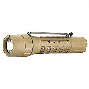Tactical LED Handheld Flashlight, Plastic, Maximum Lumens Output: 275, Tan