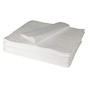 "39"" x 33"" Heavy Absorbent Pad for Oil-Based Liquids, White, 50PK"