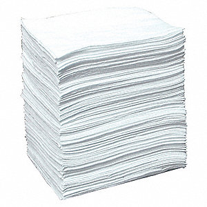 "19"" x 15"" Medium Absorbent Pad for Oil Only/Petroleum, White, 100PK"