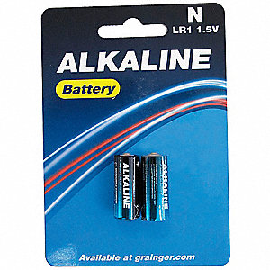Alkaline Battery, Voltage 1.5, Battery Size N, 2 PK