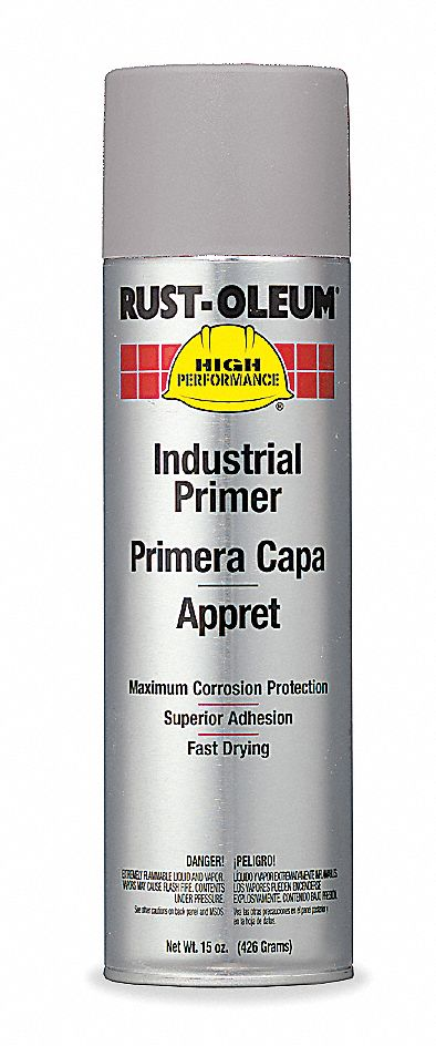 Solvent-Base Rust Preventative Spray Primer, Flat Gray, 15 oz