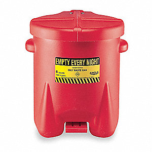 Red Polyethylene Oily Waste Can, 14 gal. Capacity, Foot Operated Self Closing Lid Type