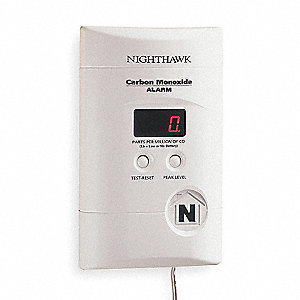 Carbon Monoxide Alarm with 85dB @ 10 ft., Horn Audible Alert; 120VAC, 9V