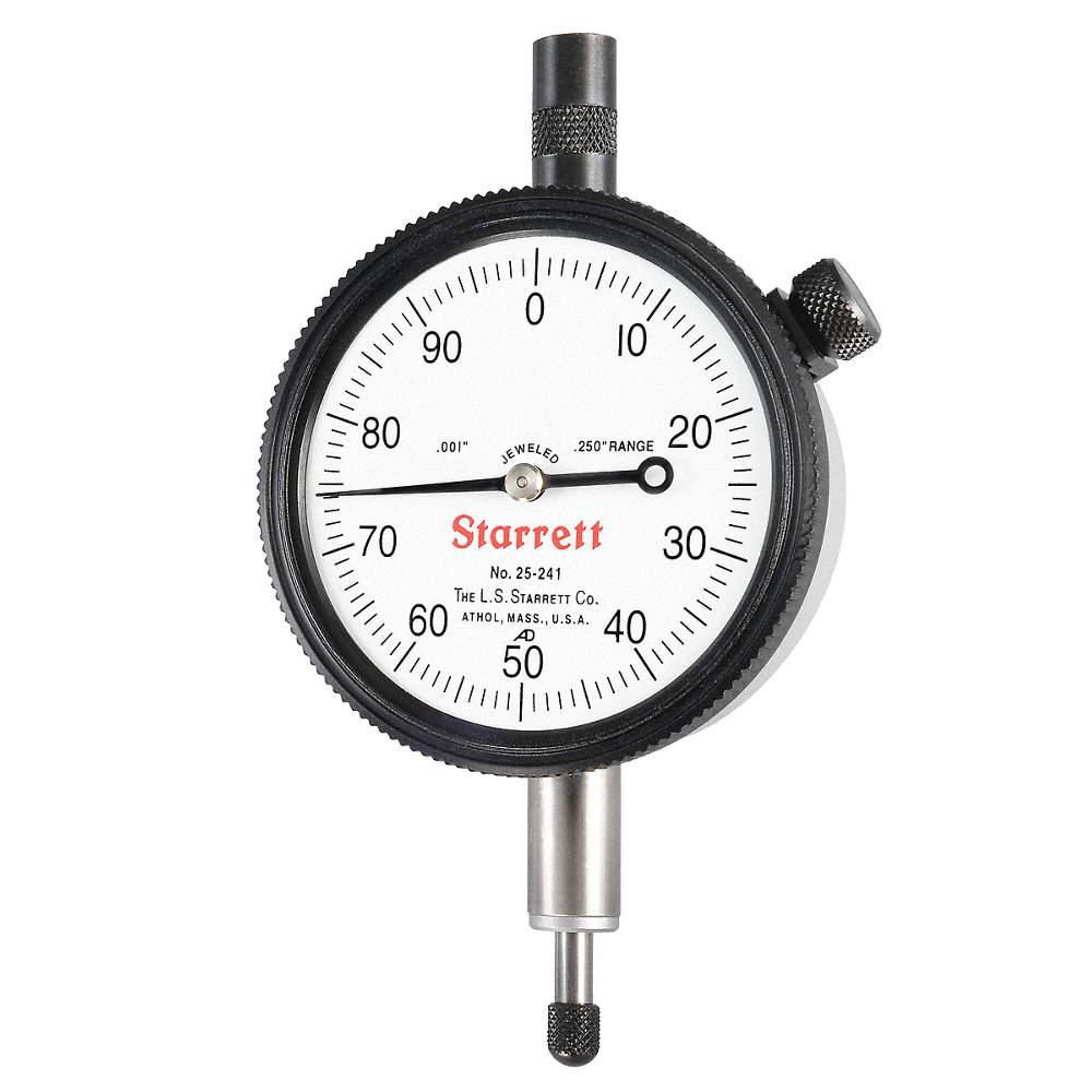 STARRETT 25-241J Dial Indicator,0 to 0.250 In,0-100