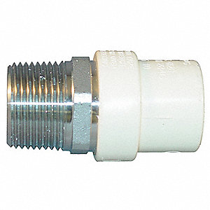 "CPVC/Stainless Steel Transition Male Adapter, CTS, 3/4"" Pipe Size, MNPT X CTS Hub Connection Type"