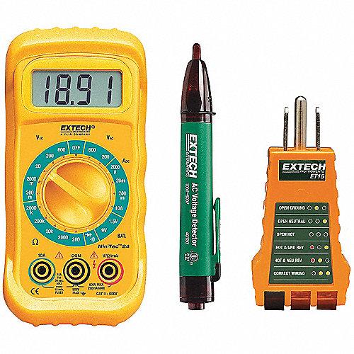 Kit de Pruebas Eléctricas, Instrumentos de Prueba Incluidos Multímetro Digital, Probador de Receptáculos, Detector de Voltaje