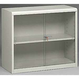 Glass Door Bookcase,30H,Lt Gray