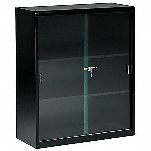 Glass Door Bookcase,42H,Blk