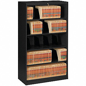 "36"" x 17"" x 63-1/2"" 0-Drawer Open Style Fixed Shelf Lateral File Series File Cabinet, Black"