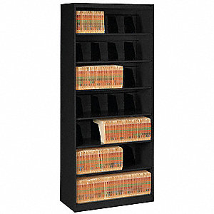 "36"" x 17"" x 87"" 0-Drawer Open Style Fixed Shelf Lateral File Series File Cabinet, Black"