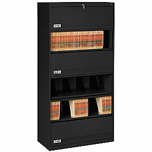 "36"" x 17"" x 75-1/4"" 0-Drawer Closed Style Fixed Shelf Lateral File Series File Cabinet, Black"