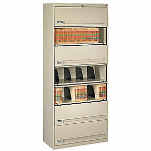 "36"" x 17"" x 87"" 0-Drawer Closed Style Fixed Shelf Lateral File Series File Cabinet, Champ/Putty"