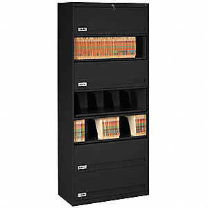 "36"" x 17"" x 87"" 0-Drawer Closed Style Fixed Shelf Lateral File Series File Cabinet, Black"