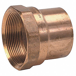 "Wrot Copper Solder to Pipe Adapter, C x FNPT Connection Type, 1"" Tube Size"