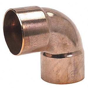 "Wrot Copper Elbow, 90°, Close Rough, C x C Connection Type, 1/2"" Tube Size"