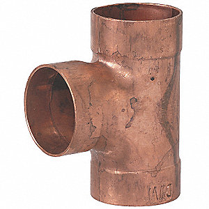 "Wrot Copper DWV Tee, C x C Connection Type, 2"" Tube Size"
