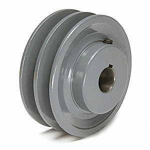 "1-1/8"" Fixed Bore Standard V-Belt Pulley, For V-Belt Section: 4L, 5L, A, AX, B, BX"