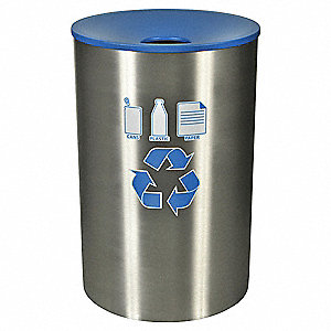 45 gal. Sliver, Blue Stationary Recycling Container, Funnel Top Top