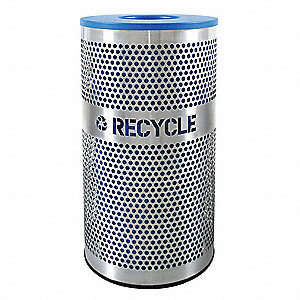 33 gal. Silver, Blue Stationary Recycling Container, Open Top