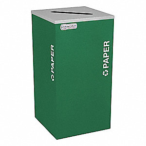 24 gal. Green Stationary Recycling Container, Open Top