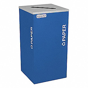 24 gal. Blue Stationary Recycling Container, Open Top