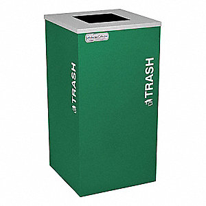 "24 gal. Square Open Top Decorative Trash Can, 30""H, Green"
