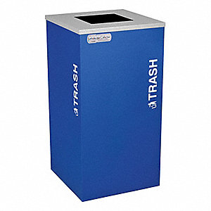 Trash Can,Square,24 gal.,Blue