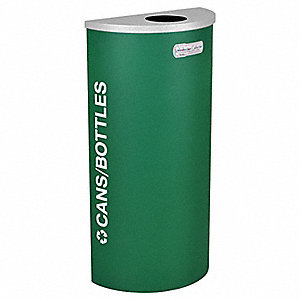8 gal. Green Stationary Recycling Container, Open Top