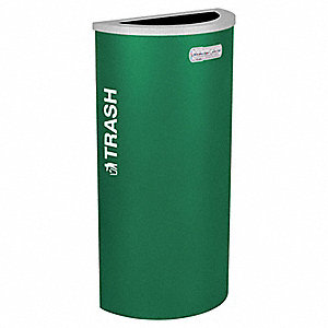 "8 gal. Half-Round Open Top Decorative Wastebasket, 30""H, Green"