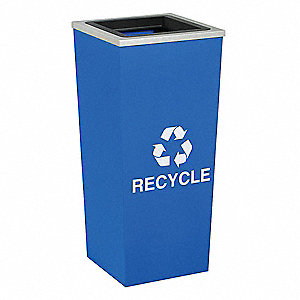 18 gal. Blue Stationary Recycling Container, Open Top
