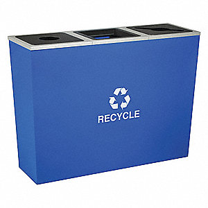 54 gal. Blue Stationary Recycling Container, Open Top
