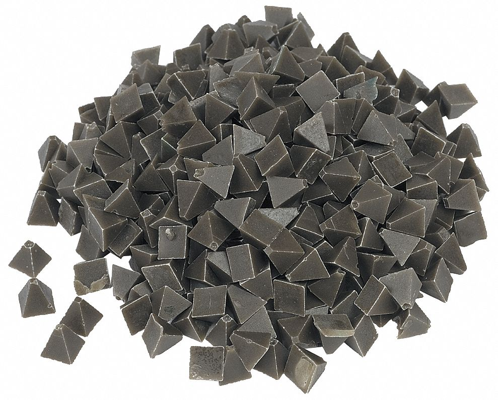Plastic Media, Pyramid, 1/4 in, 55 lb/cu ft, 5 lb, For Use With Vibratory Tumbler