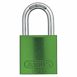 "Lockout Padlock,KA,Green,1-1/2""H,PK12"