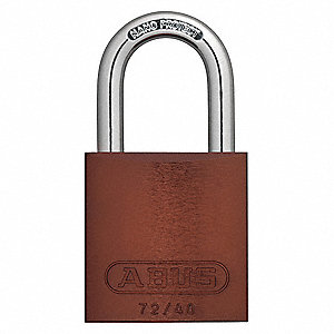 Brown Lockout Padlock, Different, Master Key Type, Master Keyed: Yes, Aluminum Body Material