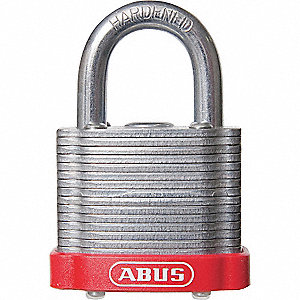 Red Lockout Padlock, Different Key Type, Steel Body Material