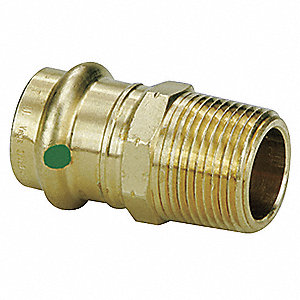 "Low Lead Bronze Male Adapter, Press x MPT Connection Type, 1-1/2"" Tube Size"