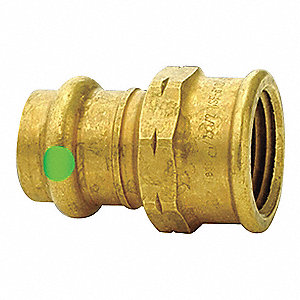 "Low Lead Bronze Female Adapter, Press x FPT Connection Type, 1-1/4"" Tube Size"