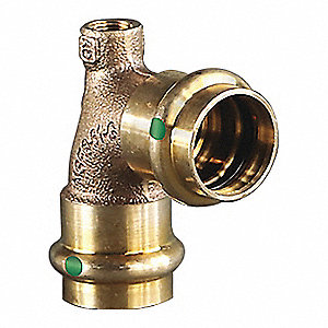 "Low Lead Bronze Vent Elbow, Press x FPT x Press Connection Type, 1/2"" x 1/2"" x 1/8"" Tube Size"