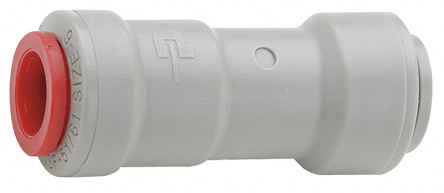 Check Valve,  1/4 in,  Single,  Inline Ball,  Acetal Resin Copolymer,  Push x Push