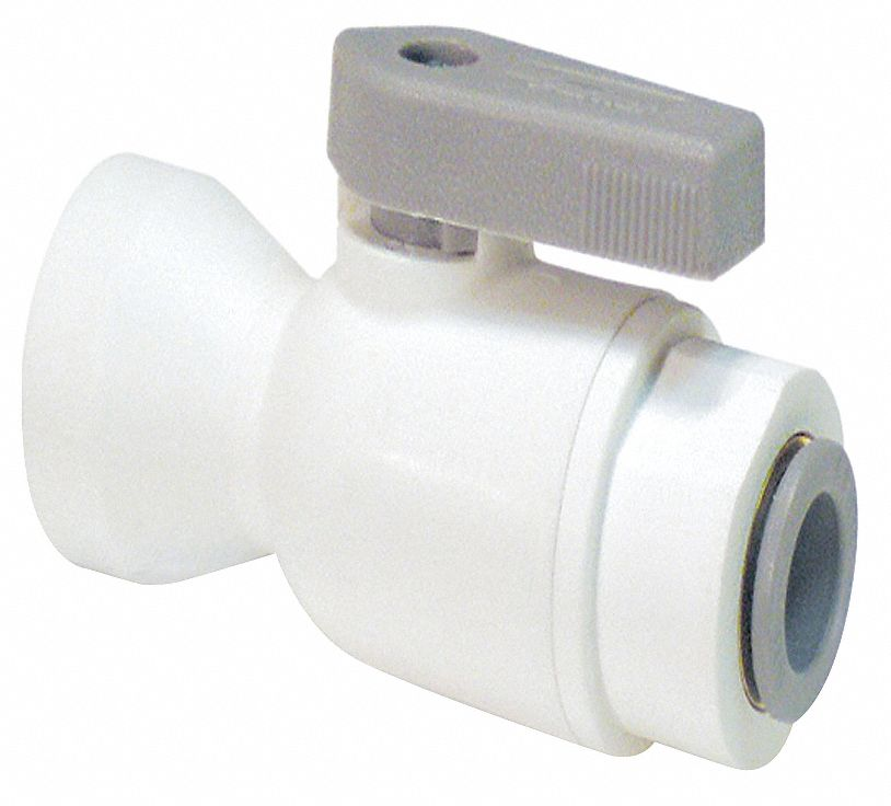 Ball Valve,  Polypropylene,  Inline,  2-Piece,  Pipe Size 1/8 in,  Tube Size 1/4 in