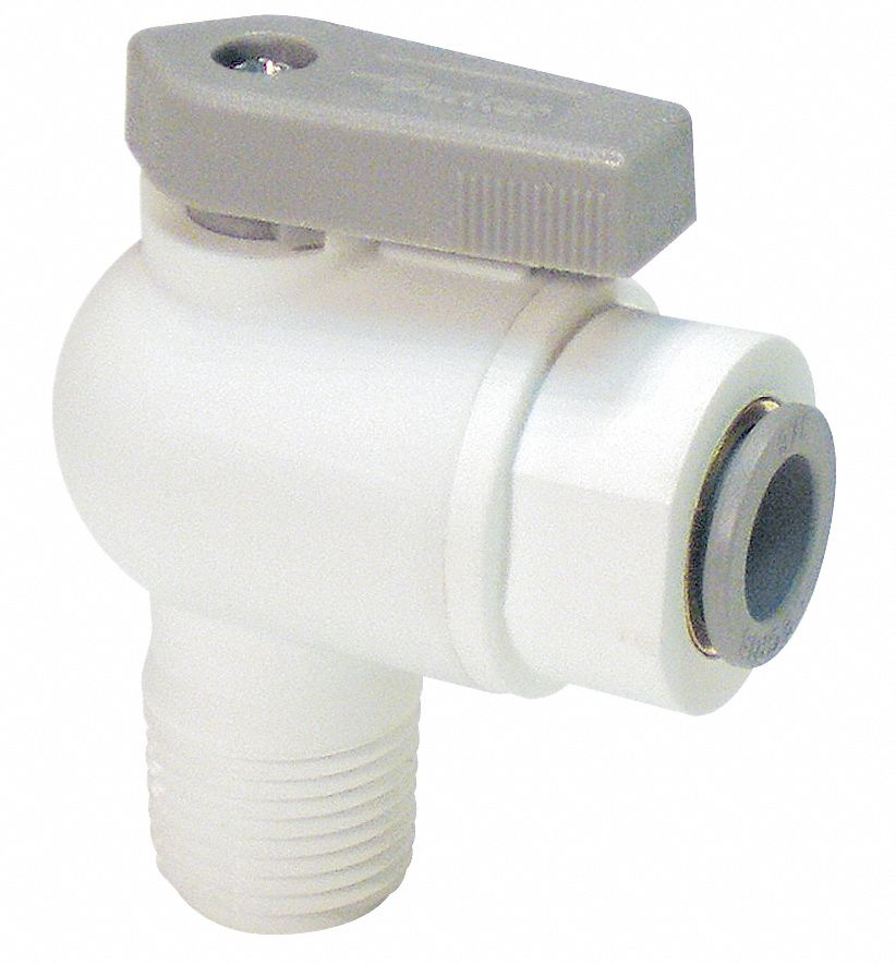 Ball Valve,  Polypropylene,  Angle,  2-Piece,  Pipe Size 1/2 in,  Tube Size 1/4 in