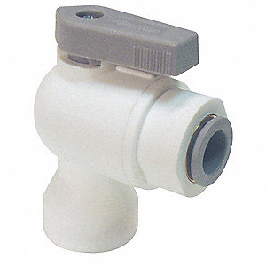 "Polypropylene FNPT x Push Ball Valve, Lever, 1/4"" Pipe Size"