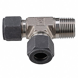 Male Run Tee, 1/4 in Tube Size, 1/8 in Pipe Size - Pipe Fitting, Metal, 1/2 in Hex Size