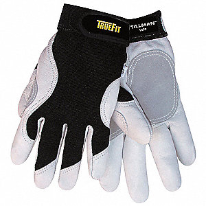 Leather Mechanics Gloves, Top Grain Goatskin Leather Palm Material, Black/Pearl, 2XL, PR 1