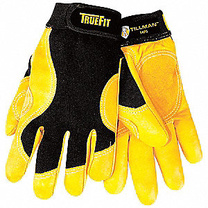Leather Mechanics Gloves, Top Grain Cowhide Leather Palm Material, Black/Gold, L, PR 1