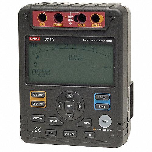 Megómetro Operador por Batería, LCD con Luz Trasera con Gráfico de Barras, Rango de Resistencia al Aislamiento: 0.1M a 10G