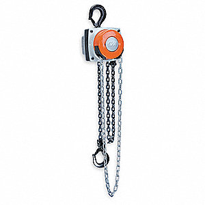 "Low Headroom Chain Hoist, 1000 lb. Load Capacity, 10 ft. Lift, 15/16"" Hook Opening"