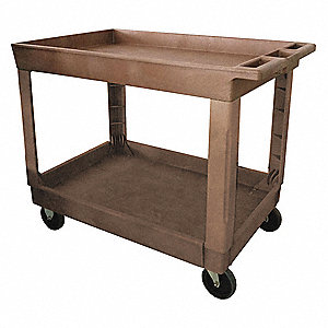 "40-5/8""L x 25-5/8""W Beige Utility Cart, 500 lb. Load Capacity, Number of Shelves: 2"