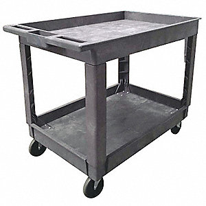 Lipped Polypropylene Flat Handle Utility Cart, 500 lb. Load Capacity, Number of Shelves: 2