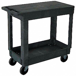 "34-1/2""L x 17-1/2""W Gray Utility Cart, 500 lb. Load Capacity, Number of Shelves: 2"